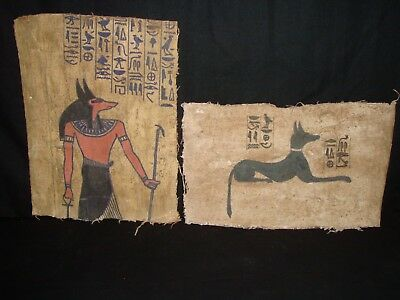 Rare Antique Ancient Egyptian God Anubis 2 Book Of Dead On linen 1279 -1213 BC