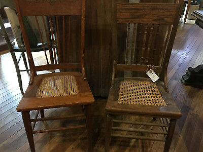 2 Vintage Mismatched Oak Aged Patina High Back Caned Seat  Chairs