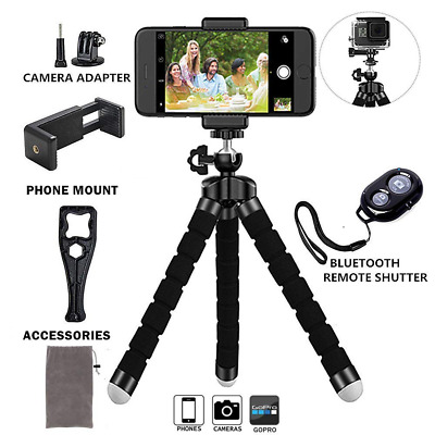 Adjustable Phone Tripod Stand with Universal Clip, Remote Shutter Release New