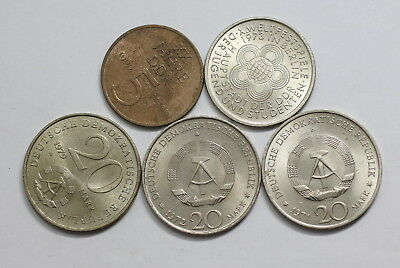 Germany Ddr Coin Lot - 5 Coins A92 Rccc19