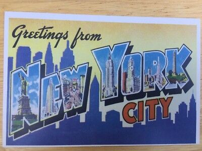 Greetings from new york city statue of liberty etc modern large postcard unused new york large letter greetings from new york city m4hsunfo