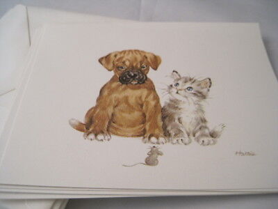 Vintage Eaton Boxer Dog and Cat Note Cards