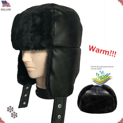 New Mens Womens Winter Warm Leather Trooper Hat Earmuffs Fur And Thicken Cap