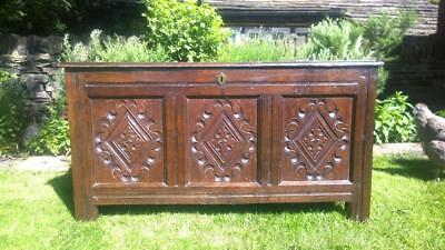 An Attractive Antique Carved Oak Coffer Blanket Box