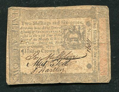 PA-165 PENNSYLVANIA OCTOBER 1, 1773 2s 6p TWO SHILLINGS SIX PENCE COLONIAL NOTE