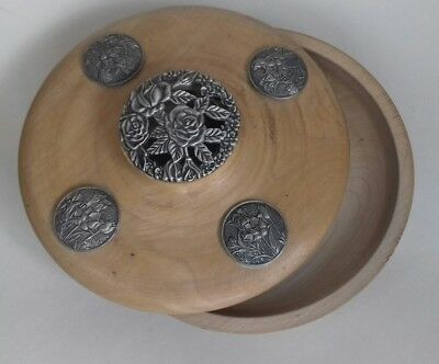 Vintage Heavy Round Wooden Lidded Bowl with Decorative Floral Metal Inserts