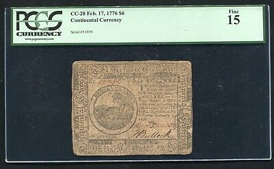 Cc-28 February 17, 1776 $6 Six Dollars Continental Currency Note Pcgs Fine-15