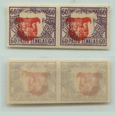 Lithuania 1919 SC 56a mint imperf pair shifted center . d6700