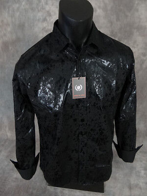 Mens House Of Lords Shirt Slim Fit Stretch Black Leather Look Coating Button