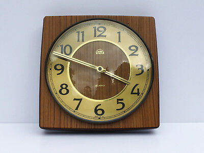 Vintage Wall Mounted Smiths Timecal Clock Quartz Retro Wood Effect Battery