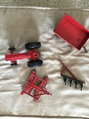LOT 4 VINTAGE ERTL FARM TOYS Tractor Plow Wagon Disc