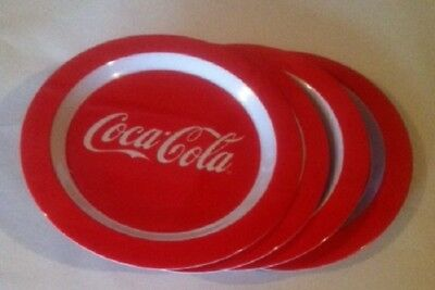 Coca Cola Coke  4 Pc  Wave Melamine Plates Set   New!
