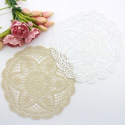 Crochet doilies white and cream 29-30 cm for millinery and crafts