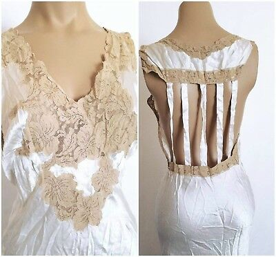Vintage Hollywood 1930's 1940's Bias Cut Floor Length White Lace Dress Nightgown