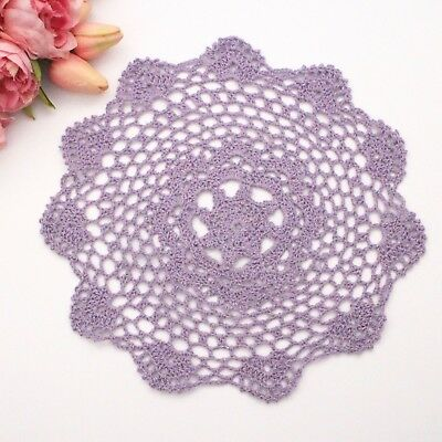 Crochet doily in purple  28  cm for millinery , hair and crafts