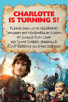 Personalised How Train Your Dragon Birthday Party Invitation You