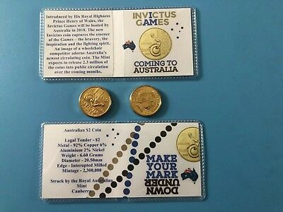 2018 $2 INVICTUS GAMES COIN IN A FLIP. Royal Australian Mint Coin Roll UNC