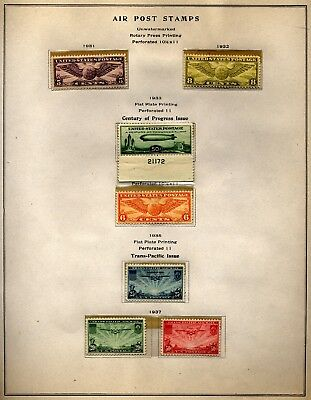 US group Airmail stamps, C16-22 includig Baby Zep, Mint Hinged