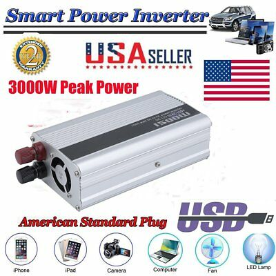 NEW 1500W 3000W Car LED Power Inverter Converter DC 12V To AC 110V USB Charger