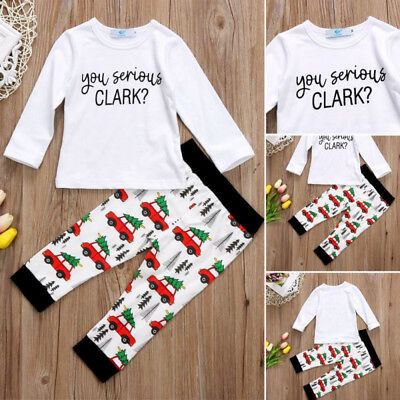 Toddler Baby Boys Christmas Cars Tops T-shirt Long Pants Outfits Clothes USA