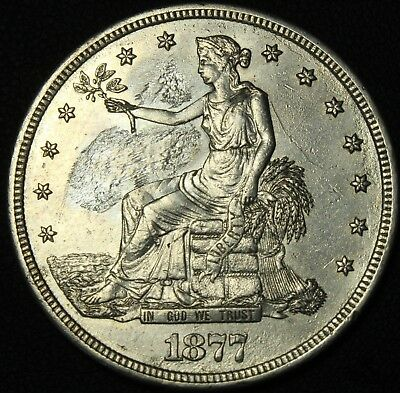 1877 S Trade Silver Dollar - Beautiful Details! - Obverse Repaired