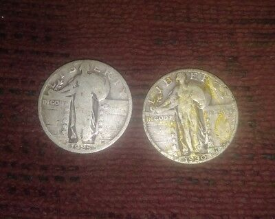 Lot of 2 Standing Liberty Quarters 90% silver