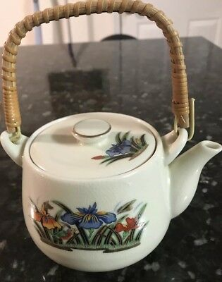 Hot Sake Teapot Flowers Blue Orange Gold Iris Green Bird Wooden Handle Japan