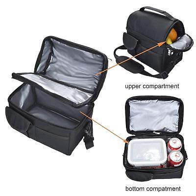 Compartment Insulated Lunch Bag Storage Cooler Bag School Picnic Work Outdoor 8L
