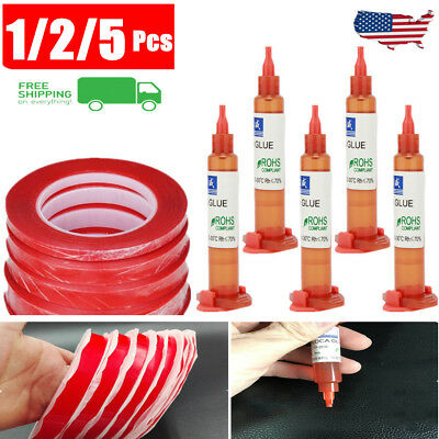 25M Red Double Sided Super Sticky Adhesive Tape & UV Glue For Phone Repair Lot
