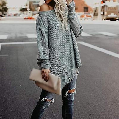 Women Crew Neck Long Batwing Sleeve Oversized Knit Sweater Pullover Blouse Tops