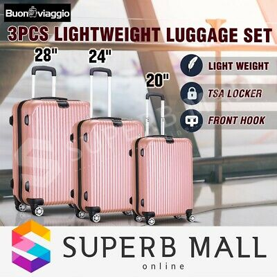 New 3x Lightweight Case Expandable Luggage Suitcase Set Travel Trolley-Rose Gold