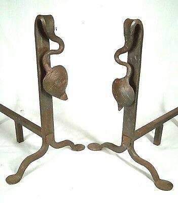 Pair Of Art Nouveau Arts+Crafts Mission Hand Wrought Penny Foot Andirons