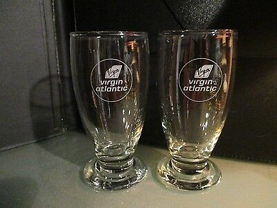 2 x vintage VIRGIN ATLANTIC airline wine glass first class logo barware lot