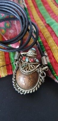 Old Tibetan Coin and Silver Henna / Snuff Container Necklace, Coral & Turquoise.