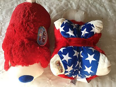 "Pillow Pets Dog Patriotic USA Large 18"" Plush Stuffed Animal Puppy Toy Travel"