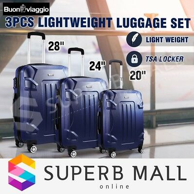 3Pcs Expandable Spinner Lightweight Luggage Suitcase Set Trolley-Dark Blue