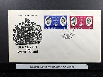 Barbados FDC 4 Feb 1966 Royal Visit to West Indies Combo Cover