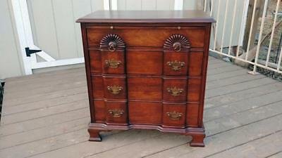 Vintage Solid Mahogany Blockfront Bachelor Chest w/ Pullout & Brass Pulls