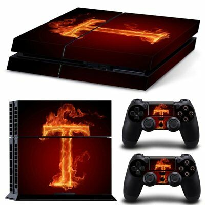 Vinyl Sticker Pattern Decals for PS4 Console & Controller Skin Flame T