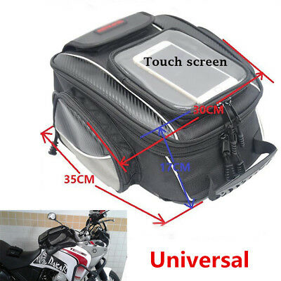 10.5L Magnetic Motorcycle Oil Fuel Tank Bag Saddle Bag Large Window Waterproof