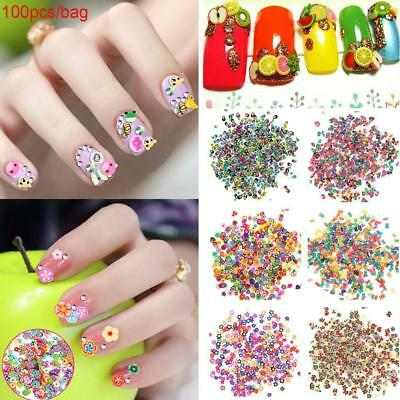 1000 X Lot Animal Fruit Flower 3D Nail Art Polymer Slices Decor Decals Nail Tips