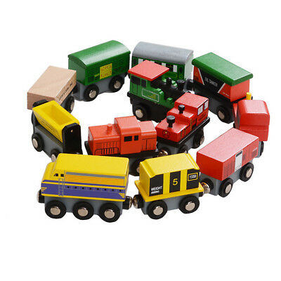 12 Piece Wooden Train Cars Magnetic Set Compatible with Thomas Wood Toy Railroad