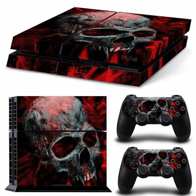 Vinyl Sticker Pattern Decals for PS4 Console & Controller Skin Black Red Skull