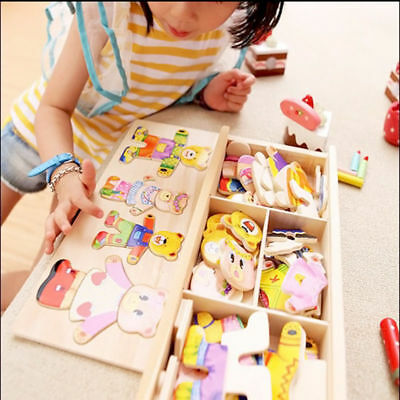 Wooden Baby Bear Changing Clothes Puzzle Set Children Kids Educational Toys Gift