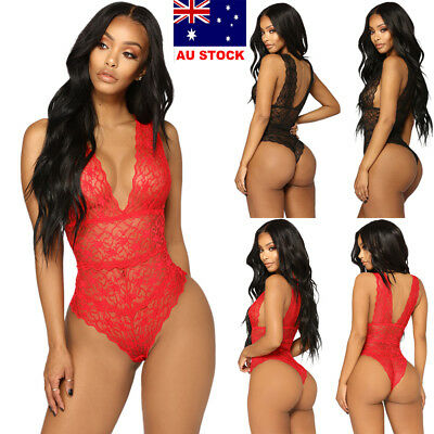Sexy Womens Lingerie Lace Babydoll Sleepwear Underwear Nightwear Bodysuit AU New