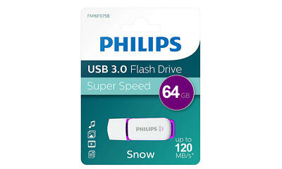 Philips USB 3.0 64GB Snow Edition Flash Drive Purple Portable Memory Stick