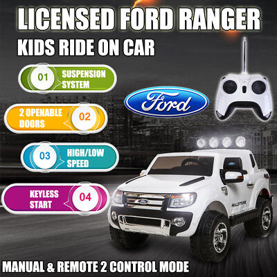 Licensed Ford Ranger Kids Electric Ride On Car Truck Battery Children White 12V
