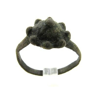 Authentic Medieval Tudor Bronze Ring W/ Crown Shaped Bezel - Wearable - G171