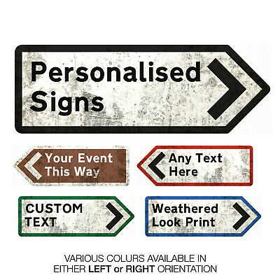 Personalised UK Arrow Sign -Metal Wall Plaque Art -Street Road Highway Direction