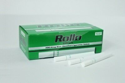 500 GREEN MENTHOL 17mm EMPTY ROLLO TUBE Cigarette Tobacco Rolling FREE INJECTOR